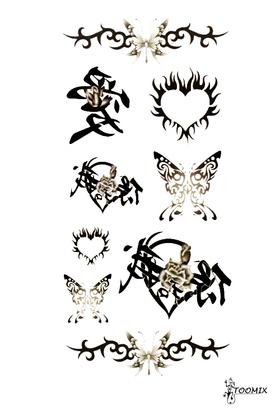 Тату наклейка «Иероглиф, бабочка»