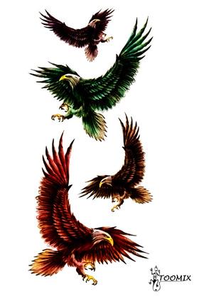 Переводная татуировка «Орлы цветные»